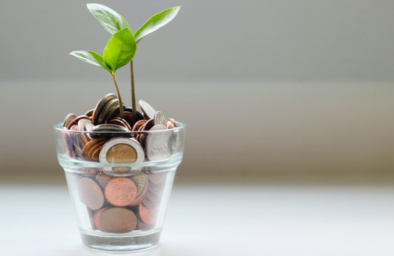 Coins saved in jar