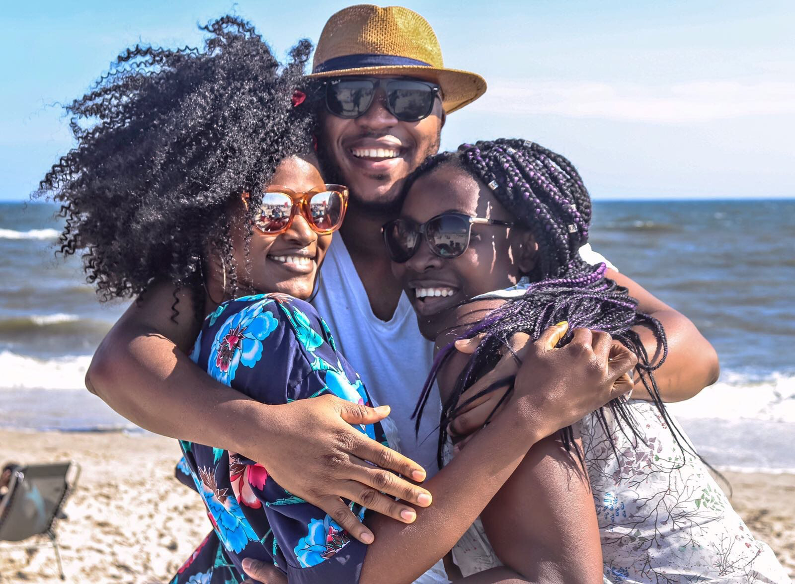 Black family at the beach