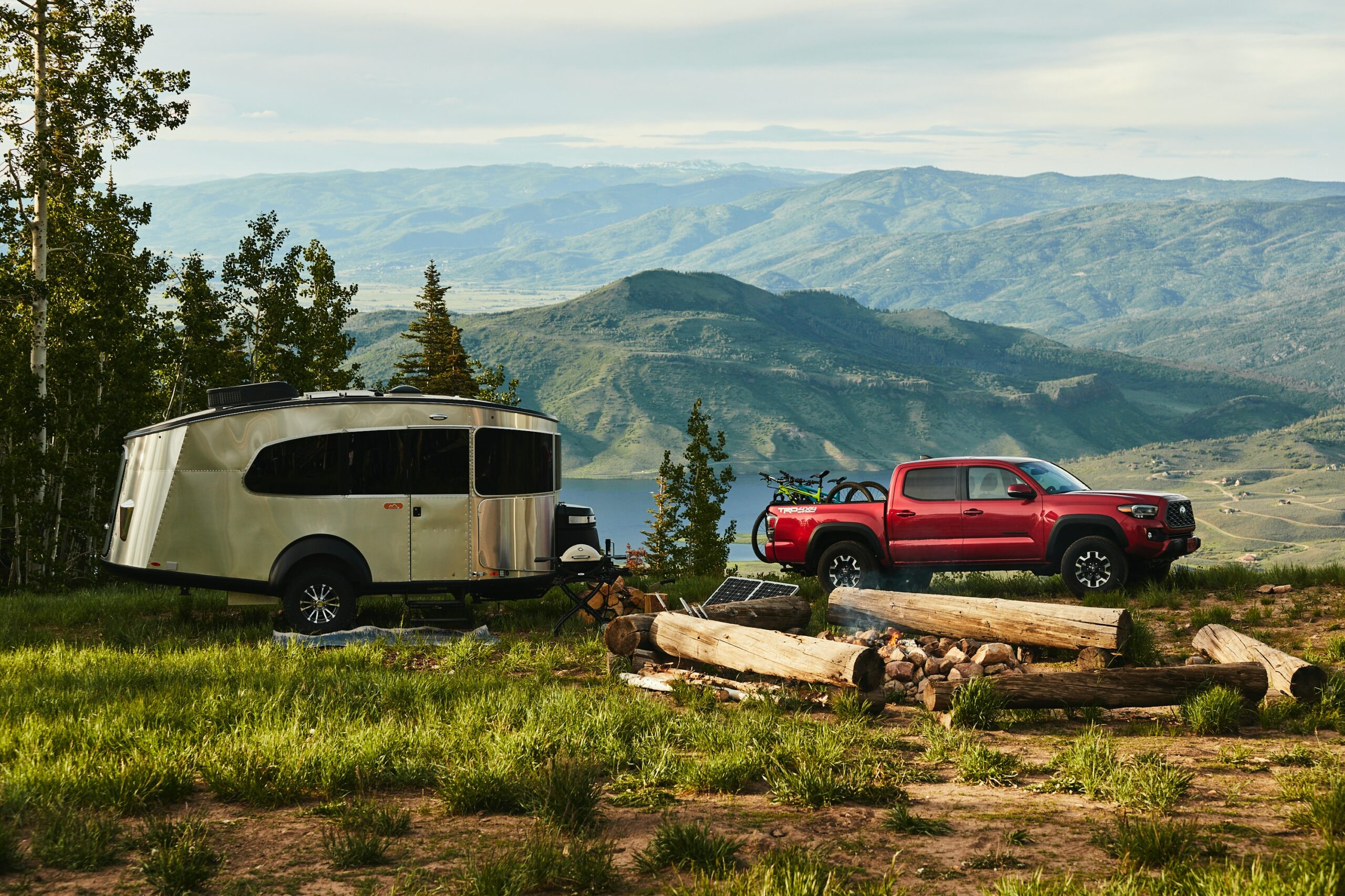 Camper with Truck in Mountains