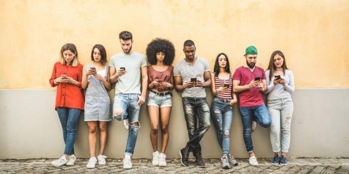Friends using Phones